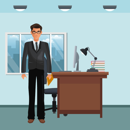 business character standing in office scenario and elements vector illustration graphic design Ilustração