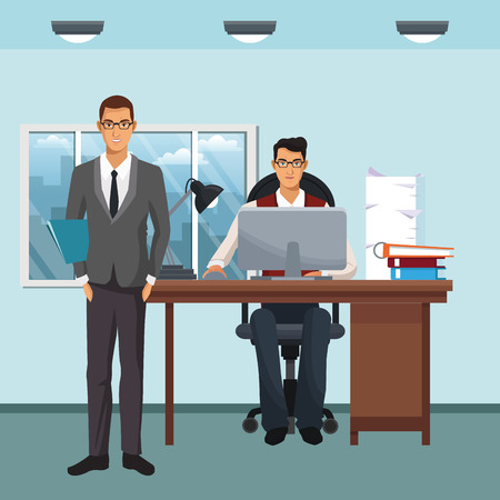 business character standing and working in office scenario and elements vector illustration graphic design