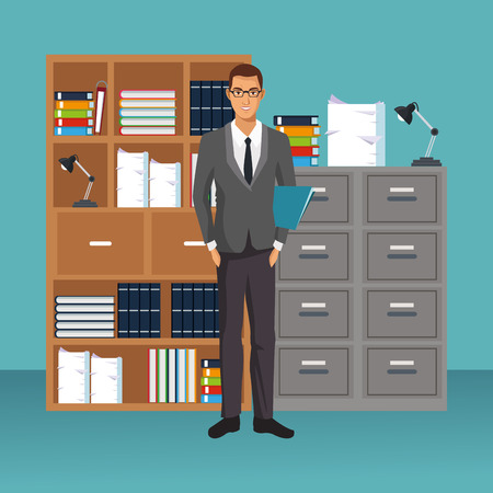 business character working in office scenario and elements vector illustration graphic design Stockfoto - 109941601