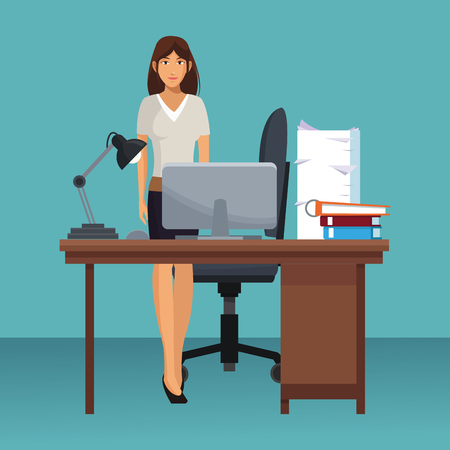 business character working in office scenario and elements vector illustration graphic design