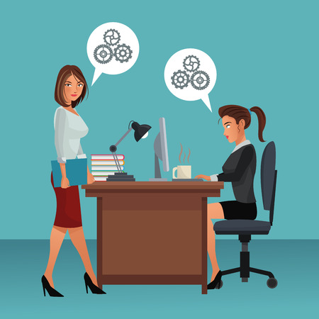 business colleagues working in office scenario and elements vector illustration graphic design