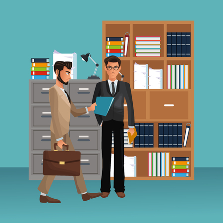 business colleagues standing in front of office bookshelf scenario and elements vector illustration graphic design