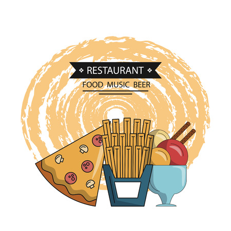 fast food restaurant items and dining utensils vector illustration graphic design Stock Illustratie