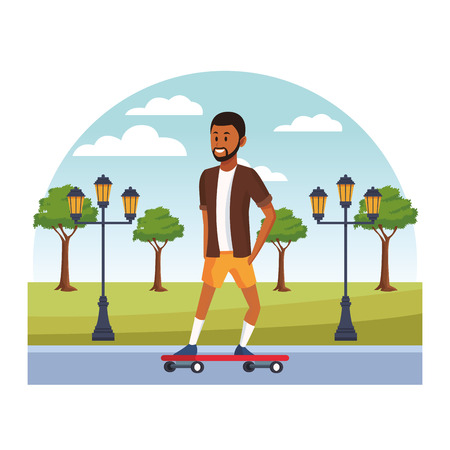 young city person enjoying leisure time skateboarding cartoon vector illustration graphic design