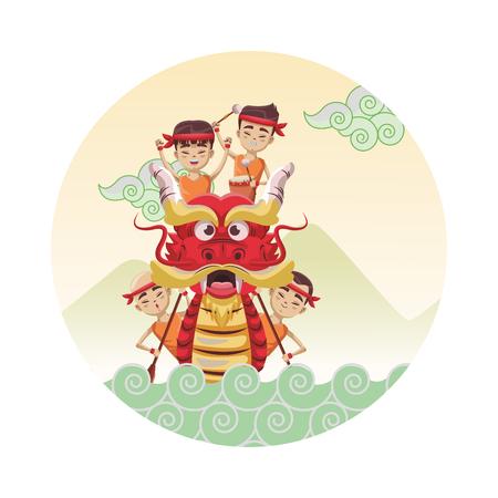 Dragon boat festival cartoon round icon round icon vector illustration graphic design