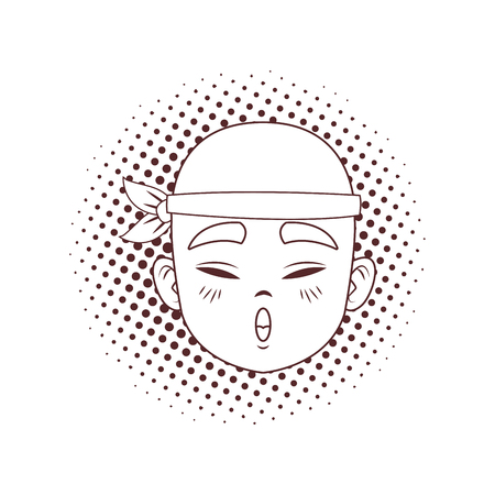 Young and happy asian man cartoon pop art in black and white vector illustration graphic design
