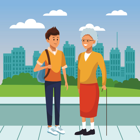 young person giving support and helping the elderly cartoon vector illustration graphic design