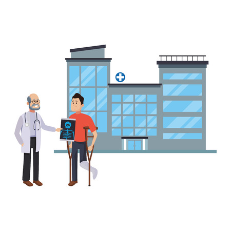 Doctor and patient with crutches medical teamwork vector illustration graphic design