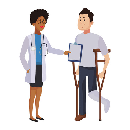 Doctor talking with patient cartoon vector illustration graphic design