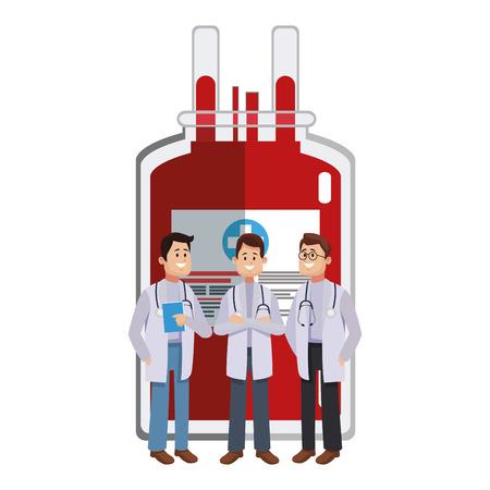 Doctors medical teamwork over blood bag cartoon vector illustration graphic design