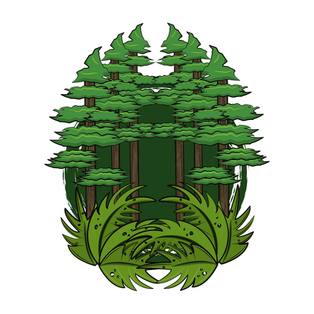 Jungle scenery cartoon round frame vector illustration graphic design 向量圖像