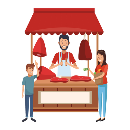 Customer buying on butchery stall market cartoons vector illustration graphic design
