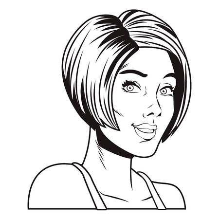 Pop art short hair woman cartoon in black and white vector illustration graphic design Ilustração