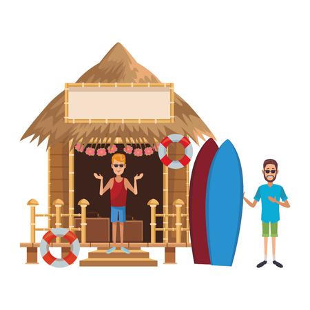 Friends on surf beach kiosk at summer cartoons