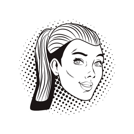 Pop art woman cartoon face in black and white vector illustration graphic design Vectores