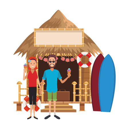 Couple eating ice cream on surf kiosk at summer vector illustration graphic design
