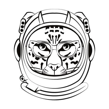 Leopard inside astronaut helmet in black and white vector illustration graphic design