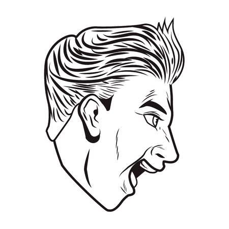 Pop art man face sideview cartoon in black and white vector illustration graphic design 일러스트