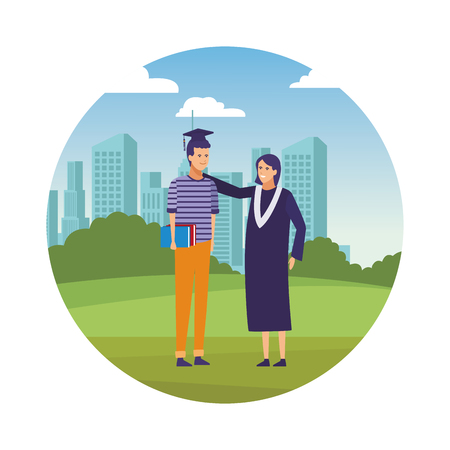 Students with gown celebrating graduation cartoons over cityscape scenery round icon vector illustration graphic design Vektorové ilustrace