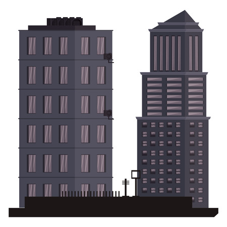 City buildings scenery isolated vector illustration graphic design Vektorgrafik