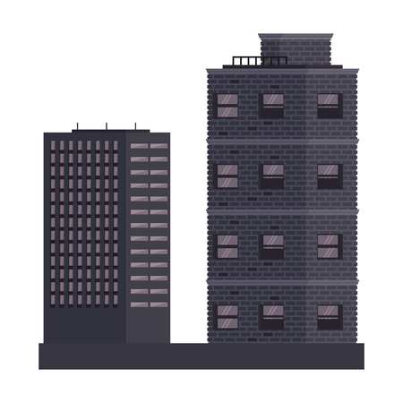 City buildings scenery isolated vector illustration graphic design