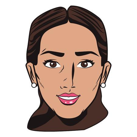 Pop art woman face cartoon vector illustration graphic design Illustration