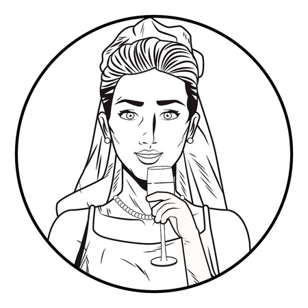 Pop art bride with champagne cartoon round striped icon in black and white vector illustration graphic design
