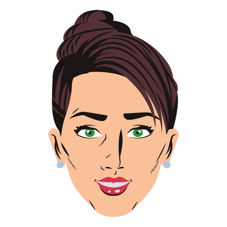 Pop art woman face cartoon vector illustration graphic design Ilustração
