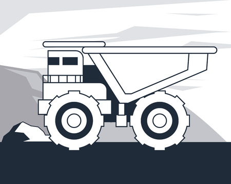 Dump truck vehicle on mining zone cartoons in black and white