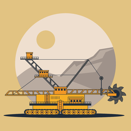 Hydraulic excavator machinery on mining zone cartoons
