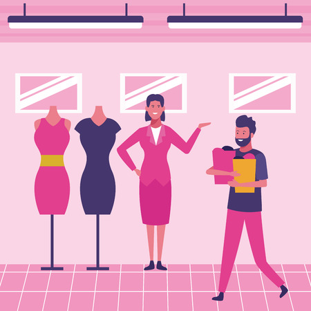 Customer buying clothes at mall scenery vector illustration graphic design
