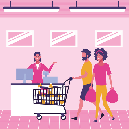 Customers buying products at supermarket cartoons vector illustration graphic design Illustration