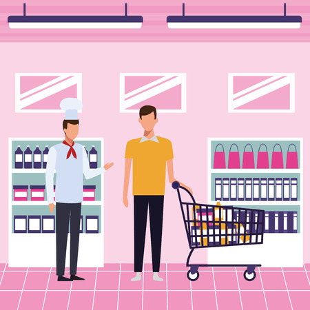 Chef advising products to customer at supermarket cartoons vector illustration graphic design Illustration