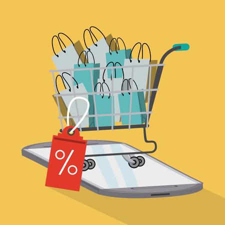 Shopping online with discounts from smartphone vector illustration graphic design