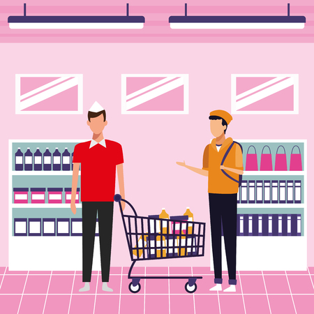 Customers buying products at supermarket cartoons vector illustration graphic design