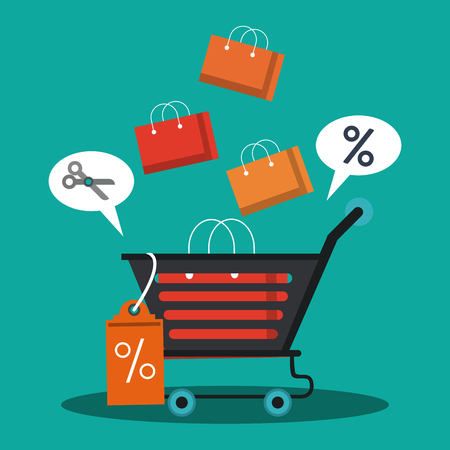 Shopping bags sales and discounts vector illustration graphic design