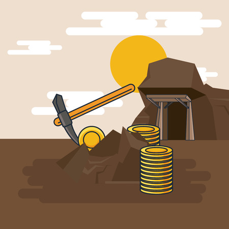 Pickaxe extraction of gold for mining vector illustration graphic design