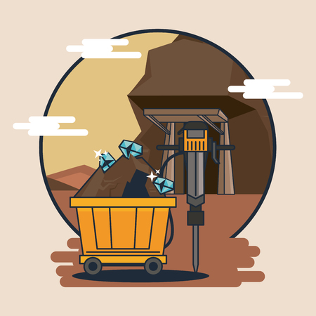 Mine cart with tools on mining zone cartoons vector illustration graphic design