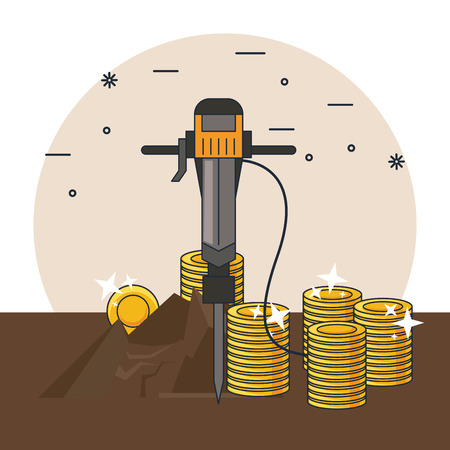 mining and tools ground drill taking gold vector illustration graphic design
