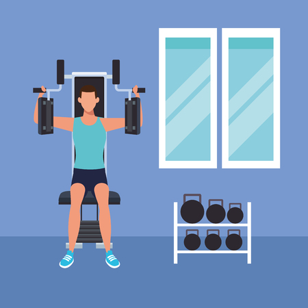 fitness man doing exercise with machine vector illustration graphic desing