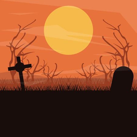 Cemetery dark silhouette scenery at night vector illustration graphic design