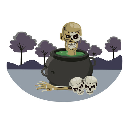 Halloween skull and soup pot scary cartoons over dark forest vector illustration graphic design