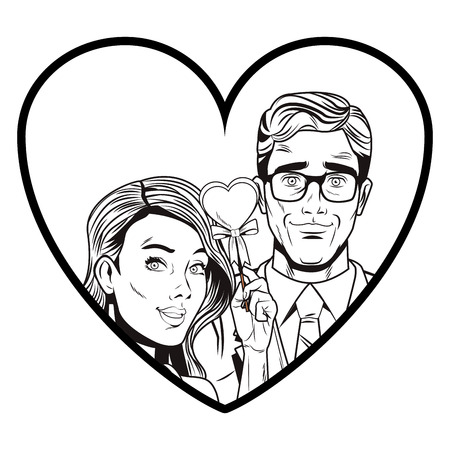 Pop art couple cartoon inside heart shaped frame in black and white vector illustration graphic design Illustration