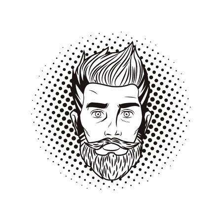 Pop-Art-Hipter-Manngesicht mit Bart in Schwarz-Weiß-Vektor-Illustration-Grafik-Design Vektorgrafik