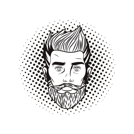 Pop art hispter man face with beard in black and white vector illustration graphic design