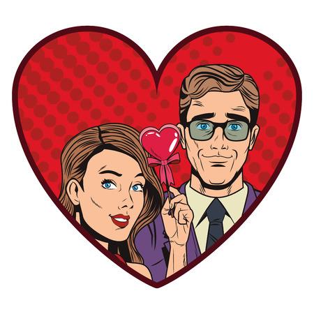 Pop art couple cartoon inside heart shaped frame vector illustration graphic design