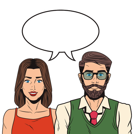 Pop art couple with blank bubble speech cartoon vector illustration graphic design