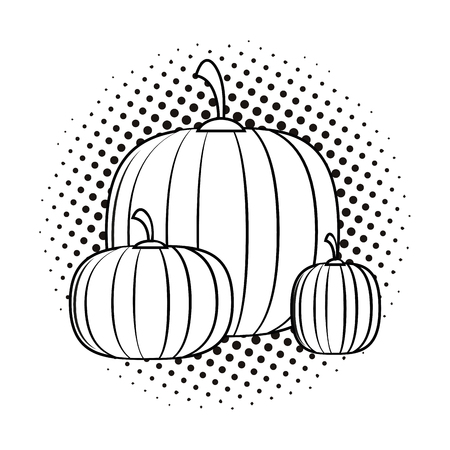 Halloween pupnkins pop art cartoon in black and white vector illustration graphic design