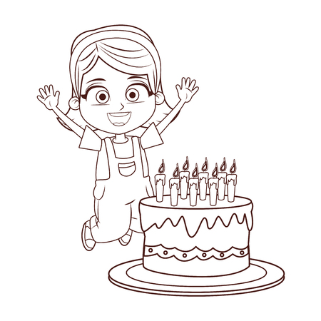 Girl birthday party with cake cartoon in black and white vector illustration graphic design
