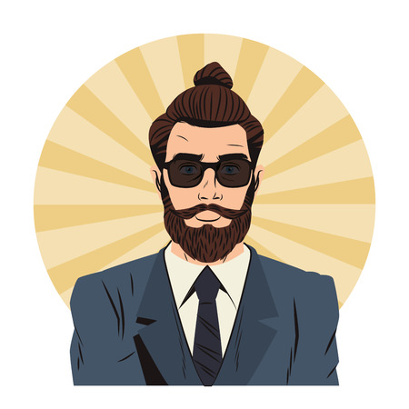 Hipster man with sunglasses and long hair cartoon pop art over striped round icon vector illustration graphic design Vetores
